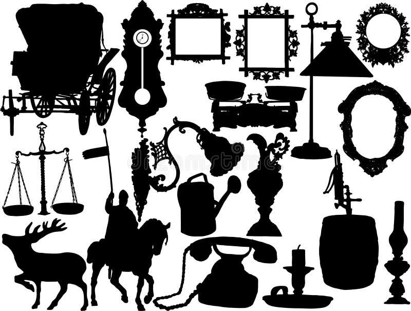 Silhouettes de vecteur illustration de vecteur