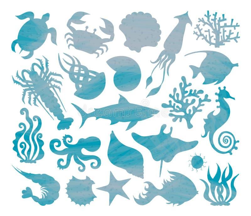 Silhouettes de vecteur d'espèce marine illustration libre de droits
