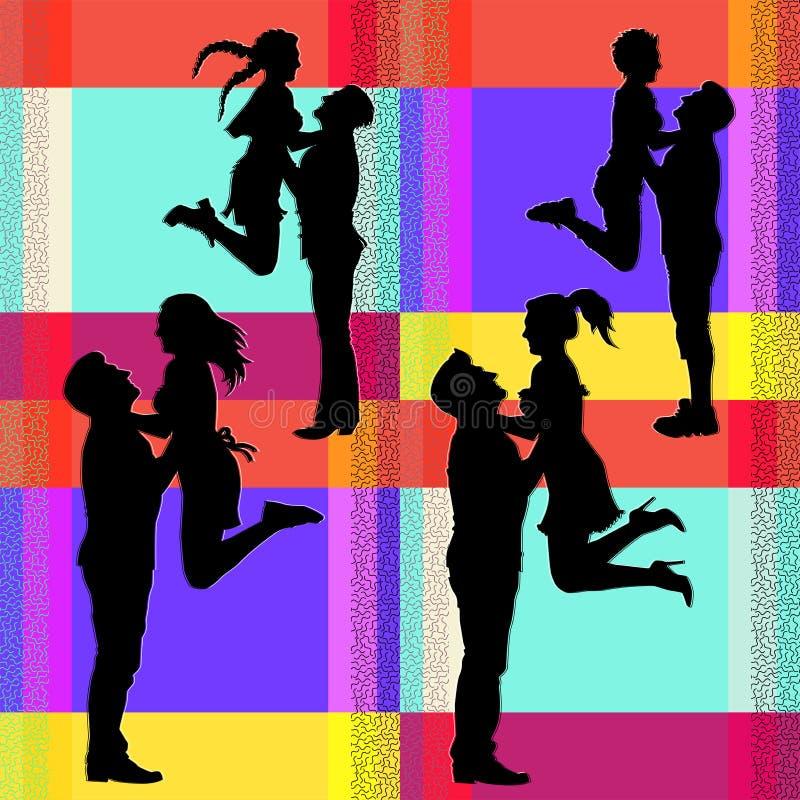 Silhouettes de vecteur d'un couple sautant joyeux illustration de vecteur