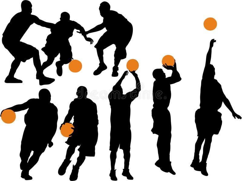 Silhouettes de vecteur de basket-ball illustration stock