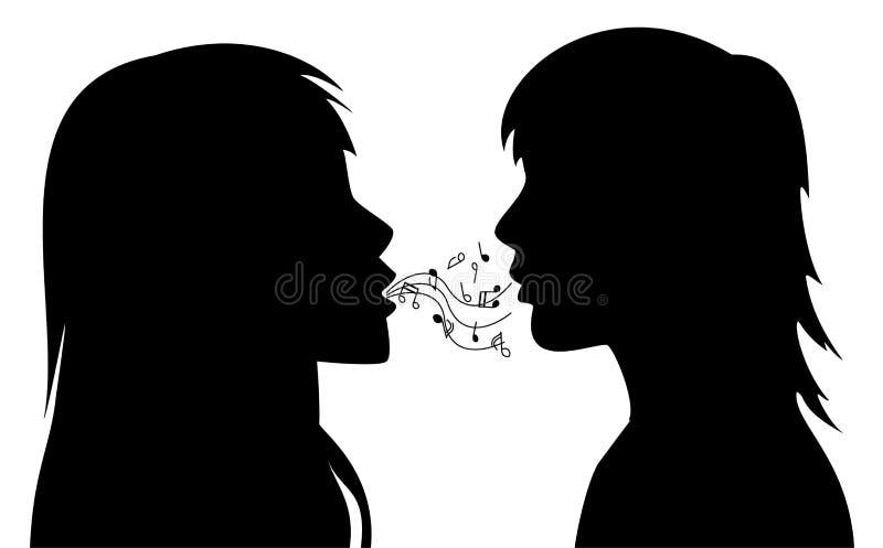 silhouettes de vecteur de deux jeunes femmes illustration stock