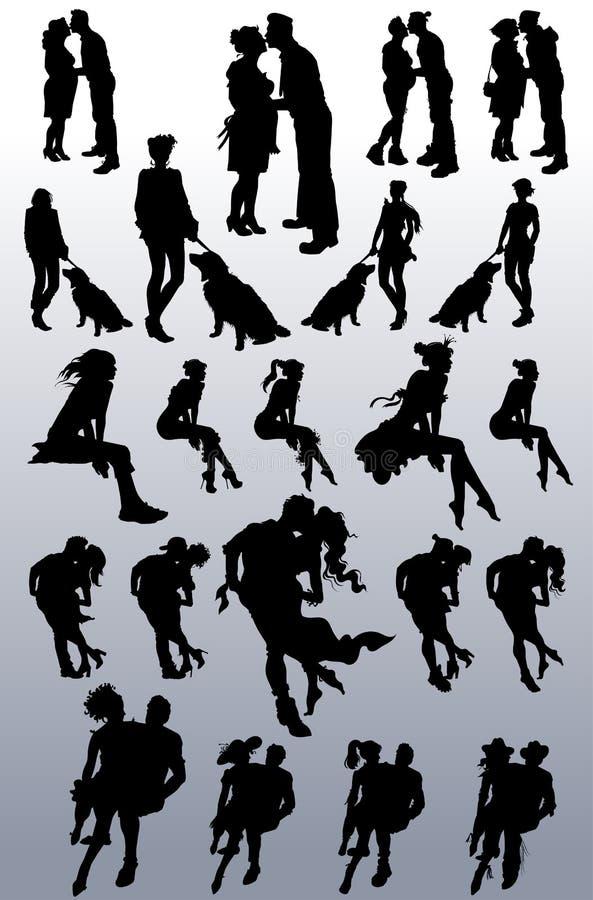 Silhouettes de vecteur des couples, femmes célibataires, chiens illustration libre de droits