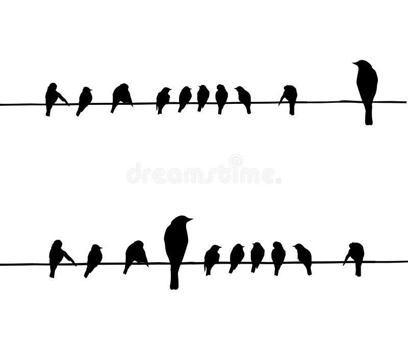 Silhouettes de vecteur des oiseaux illustration libre de droits