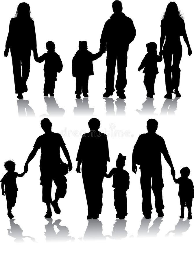 Silhouettes de vecteur des parents avec des enfants illustration libre de droits