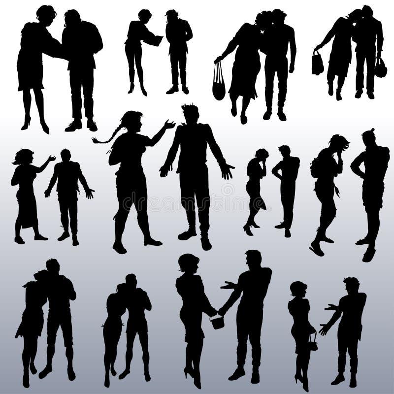 Silhouettes de vecteur des personnes de différents âges illustration libre de droits