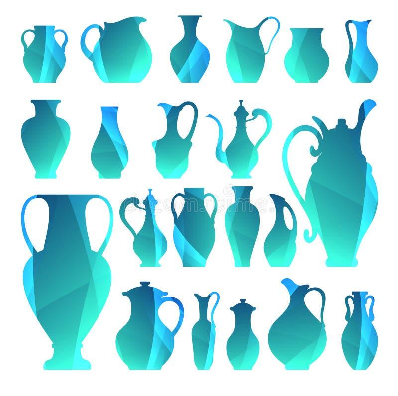 Silhouettes de vecteur des vases Vaisselle d'isolement Icône de Digital pour illustration de vecteur