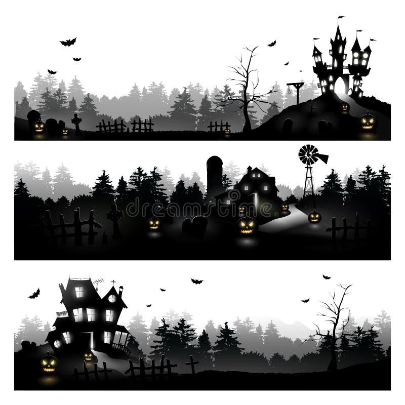 Silhouettes de Veille de la toussaint illustration stock
