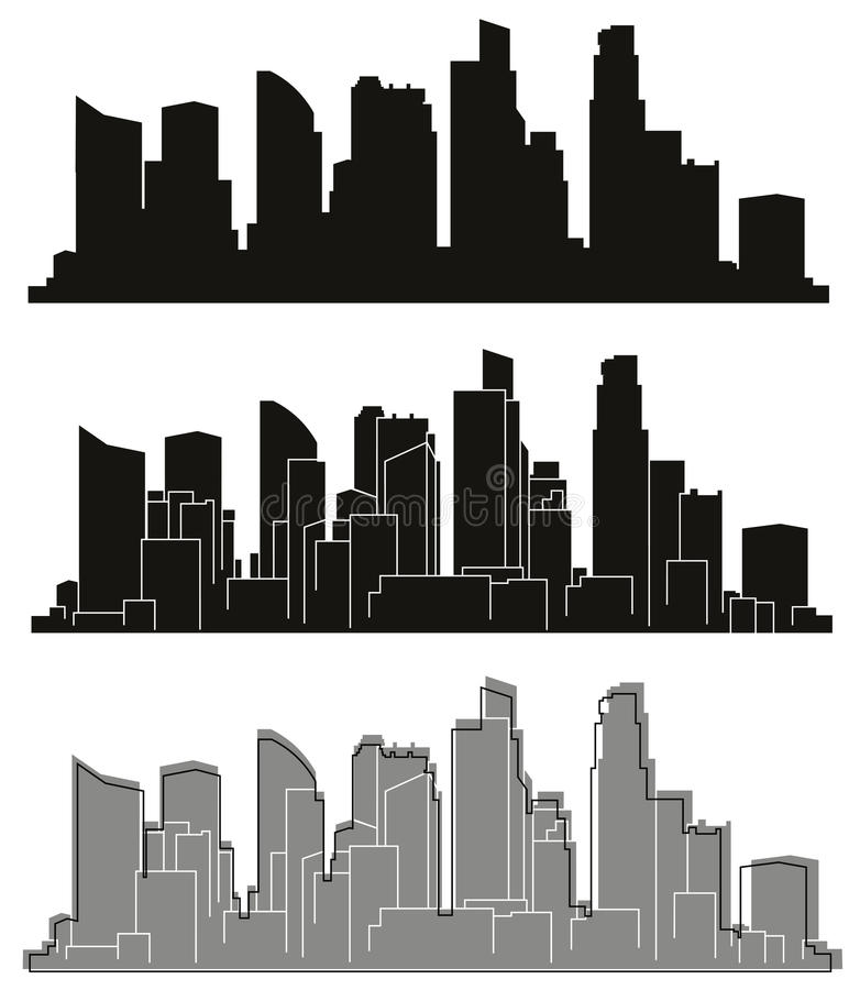 Silhouettes de villes de vecteur illustration stock