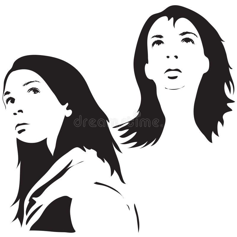 Silhouettes de visage illustration stock