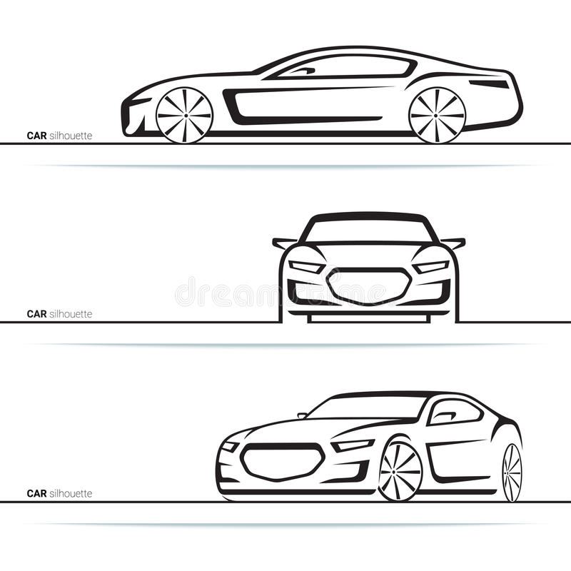 Silhouettes de voiture de vecteur réglées Vue de côté avant, de trois quarts et illustration de vecteur