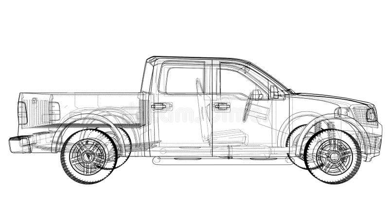 Silhouettes de voiture de vecteur Rendu de 3d illustration stock