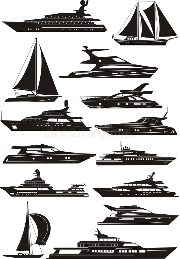 silhouettes de yacht illustration libre de droits