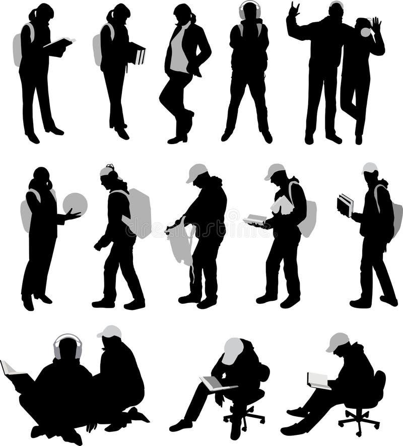 silhouettes deltagare stock illustrationer