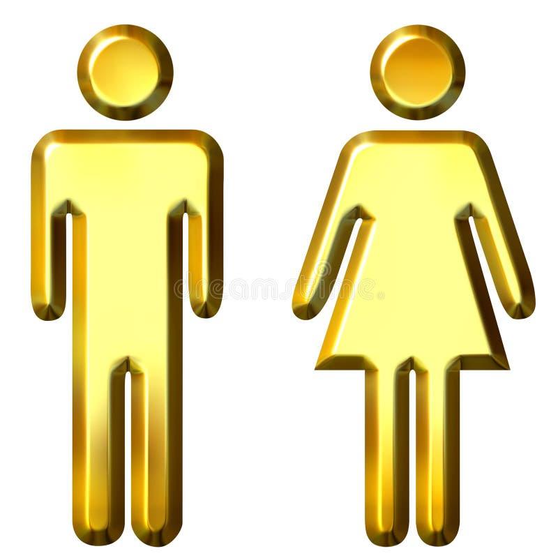 silhouettes den guld- mannen 3d kvinnan vektor illustrationer