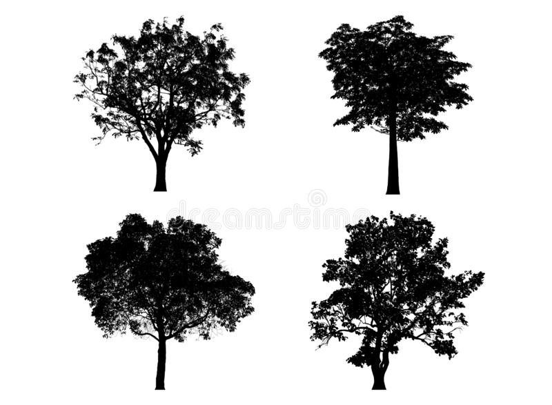 silhouettes den svarta illustrationen f?r bakgrund treevektorwhite arkivbilder