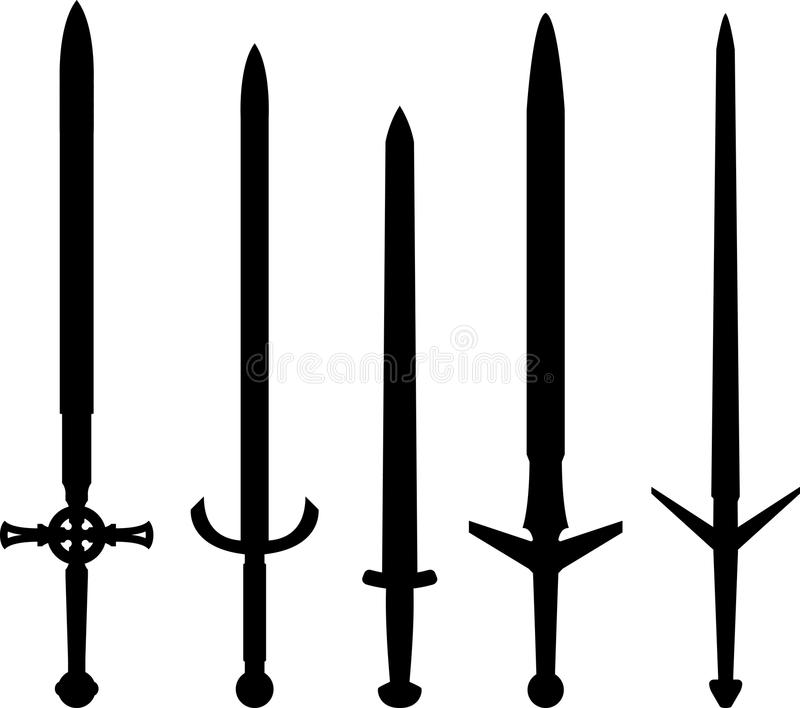 Silhouettes des épées médiévales illustration de vecteur