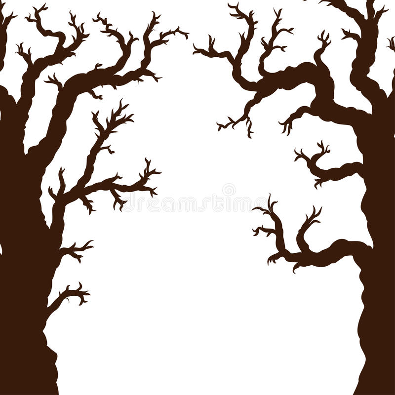 Silhouettes des arbres de Halloween, arbre effrayant fantasmagorique nu de Halloween illustration stock