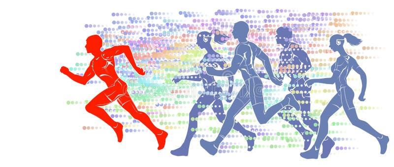 Silhouettes des athlètes courants image stock