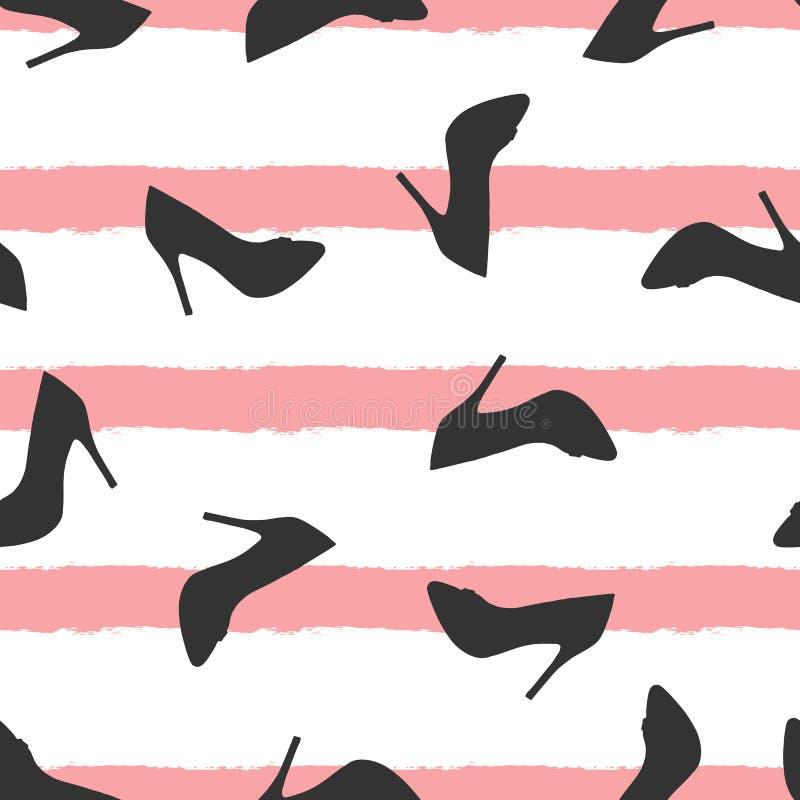 Silhouettes des chaussures dispersées sur le fond rayé Modèle sans couture pour des femmes illustration stock