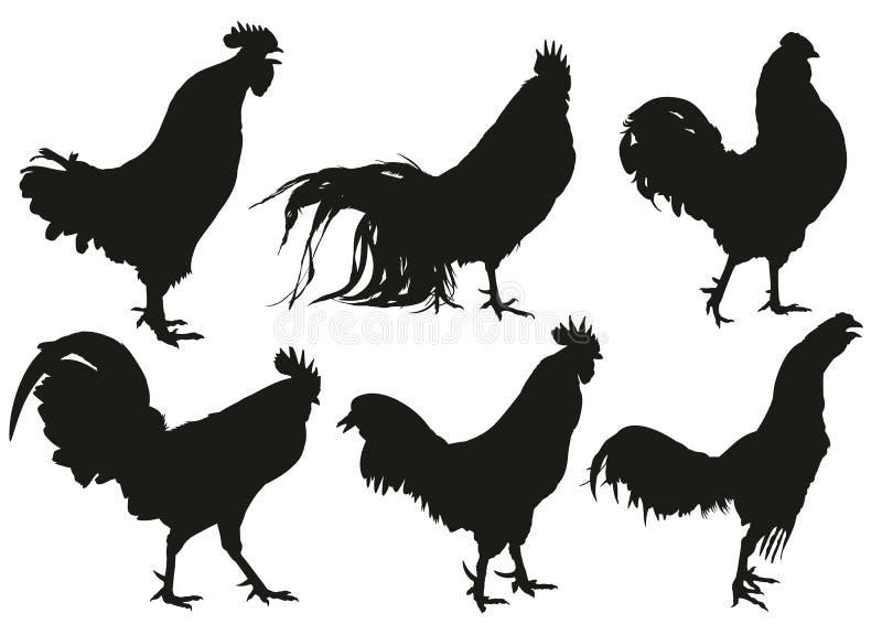Silhouettes des coqs illustration de vecteur