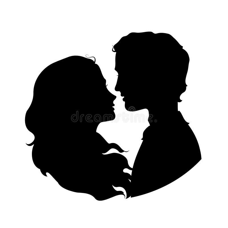 Silhouettes des couples affectueux illustration stock