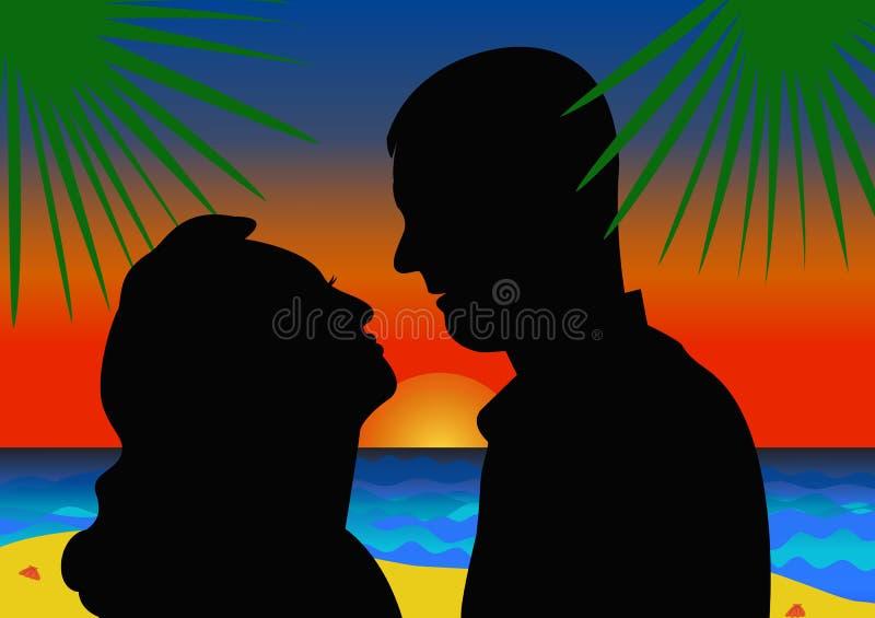 Silhouettes des couples dans l'amour sur le fond de coucher du soleil d'été illustration stock