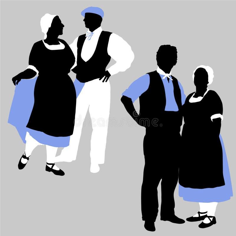 Silhouettes des couples dans le costu français traditionnel illustration libre de droits