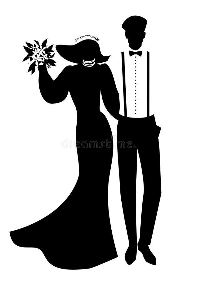 Silhouettes des couples de nouveaux mariés portant épousant des vêtements Chapeau à large bord pour elle et béret, bretelles et n illustration de vecteur