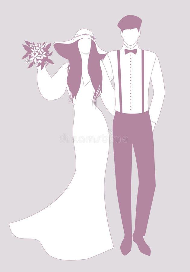 Silhouettes des couples de nouveaux mariés portant épousant des vêtements Chapeau à large bord pour elle et béret, bretelles et n illustration libre de droits