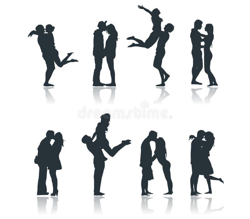 Silhouettes des couples romantiques aimant embrassant l'amie de flirt d'ami illustration de vecteur
