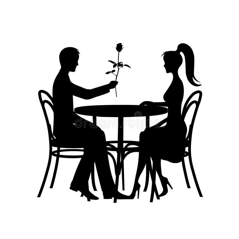 Silhouettes des couples romantiques lors de la réunion d'amour sur un fond blanc illustration de vecteur