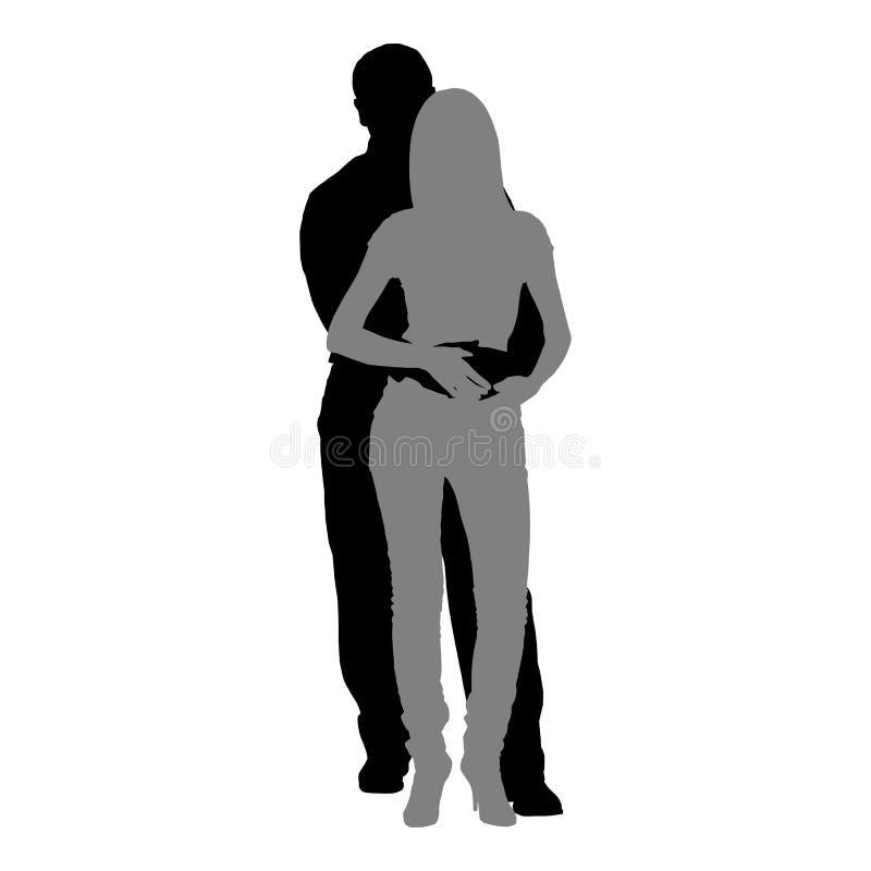 Silhouettes des couples romantiques sur un fond blanc illustration libre de droits