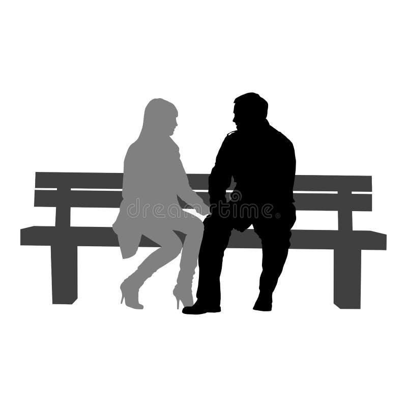 Silhouettes des couples romantiques sur un fond blanc illustration de vecteur