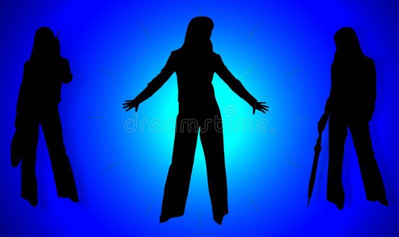 Silhouettes des dames d'affaires illustration de vecteur