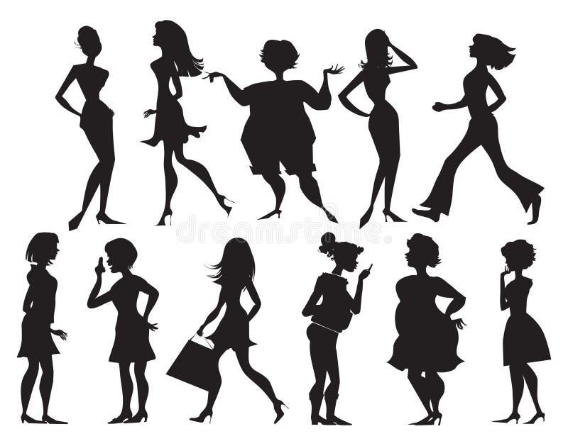 Silhouettes des femmes illustration stock
