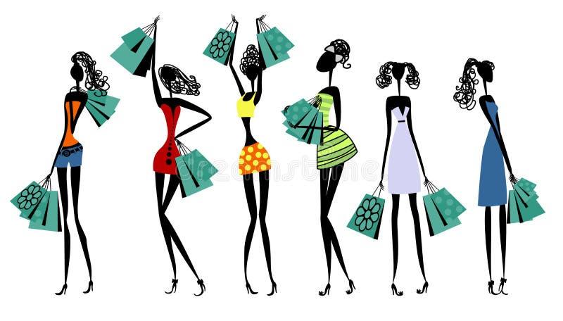 Silhouettes des femmes avec des achats illustration libre de droits