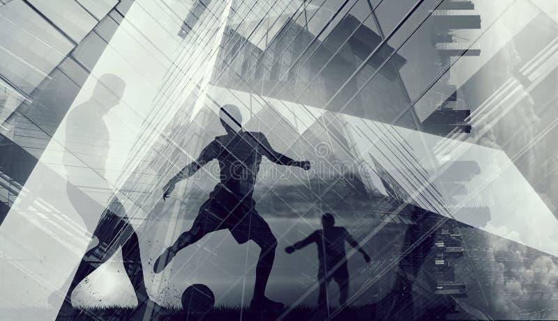 Silhouettes des footballeurs photo libre de droits