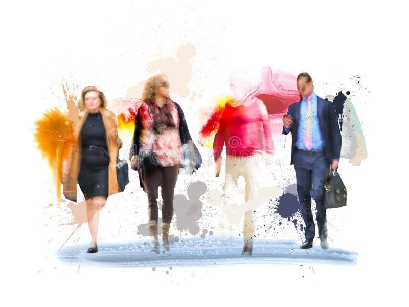 Silhouettes des gens d'affaires réussis travaillant à la réunion Croquis avec la couleur d'eau colorée photos libres de droits