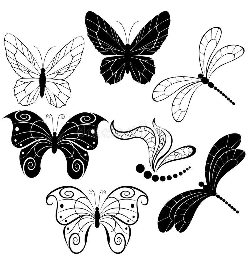 Silhouettes des guindineaux et des libellules illustration stock