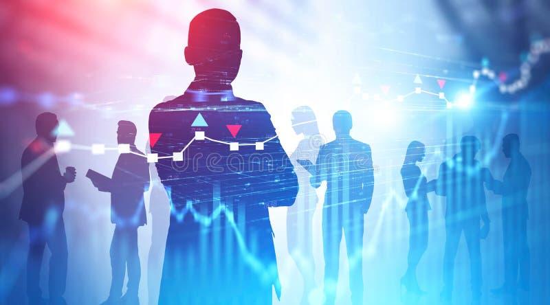 Silhouettes des hommes d'affaires, diagrammes photos libres de droits