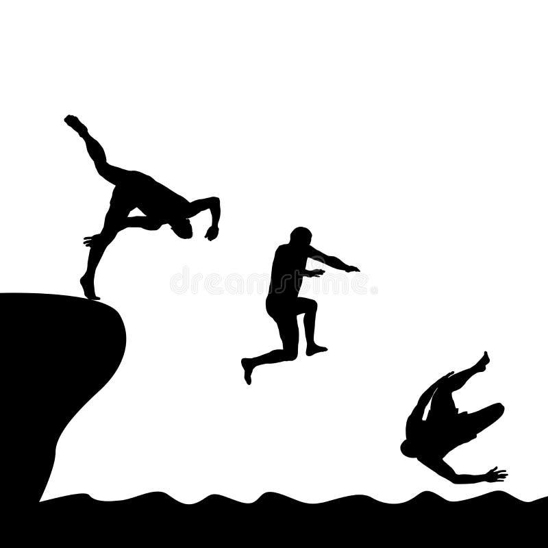Silhouettes des hommes sautant dans l'eau illustration stock