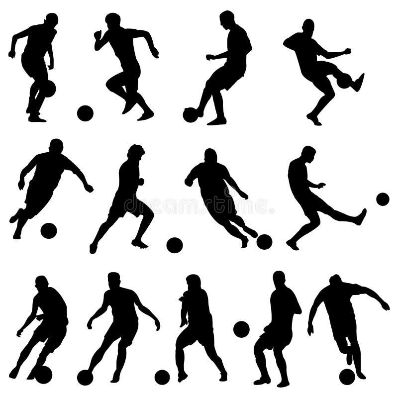Silhouettes des joueurs de football illustration stock