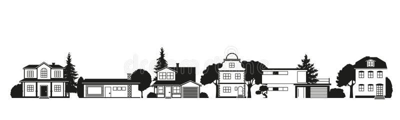 Silhouettes des maisons dans la rue suburbaine illustration libre de droits