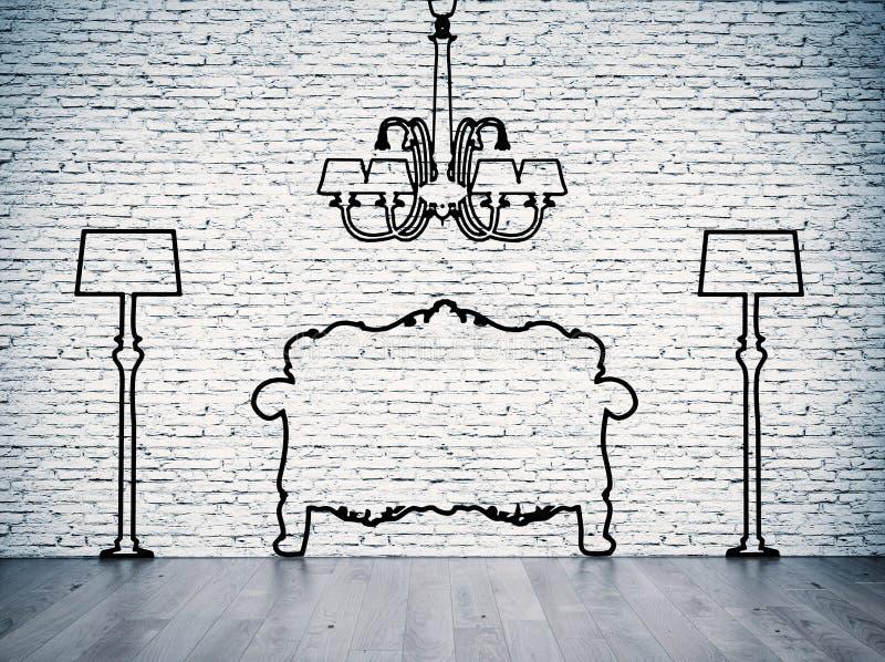 Silhouettes des meubles illustration de vecteur
