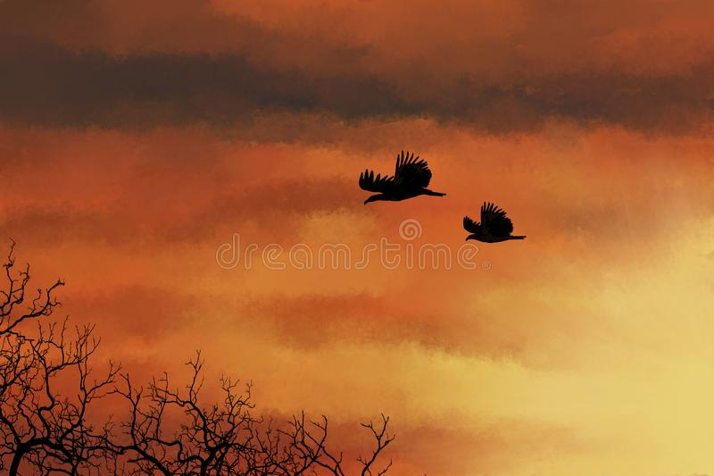 Silhouettes des oiseaux et des arbres sur un fond de coucher du soleil illustration de vecteur