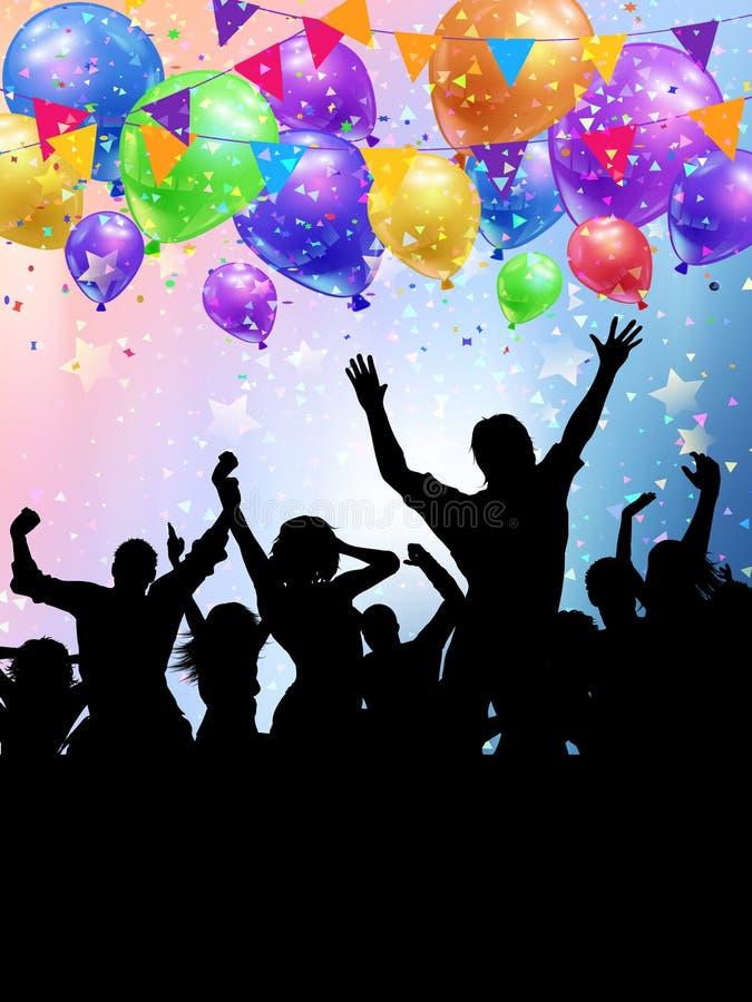 Silhouettes des personnes de partie sur ballons et backgroun de confettis illustration stock