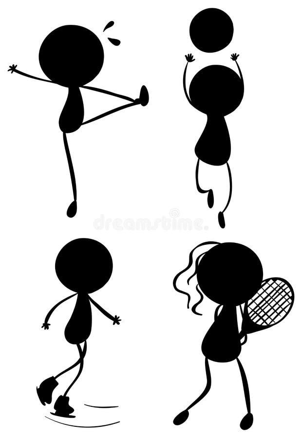 Silhouettes des personnes jouant avec les différents sports illustration de vecteur