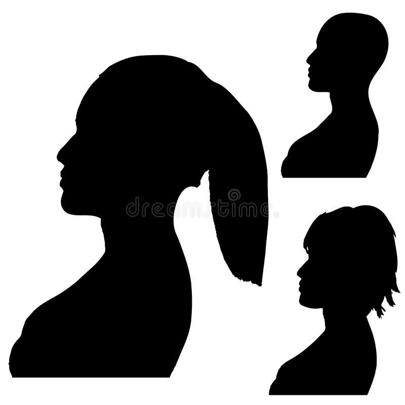 Silhouettes des têtes du ` s de femmes Projectile latéral D'isolement sur le blanc Vect illustration stock