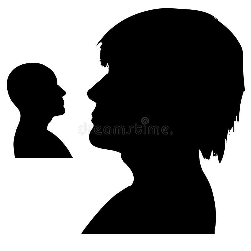 Silhouettes des têtes du ` un s d'homme Projectile latéral Rebecca 36 illustration de vecteur