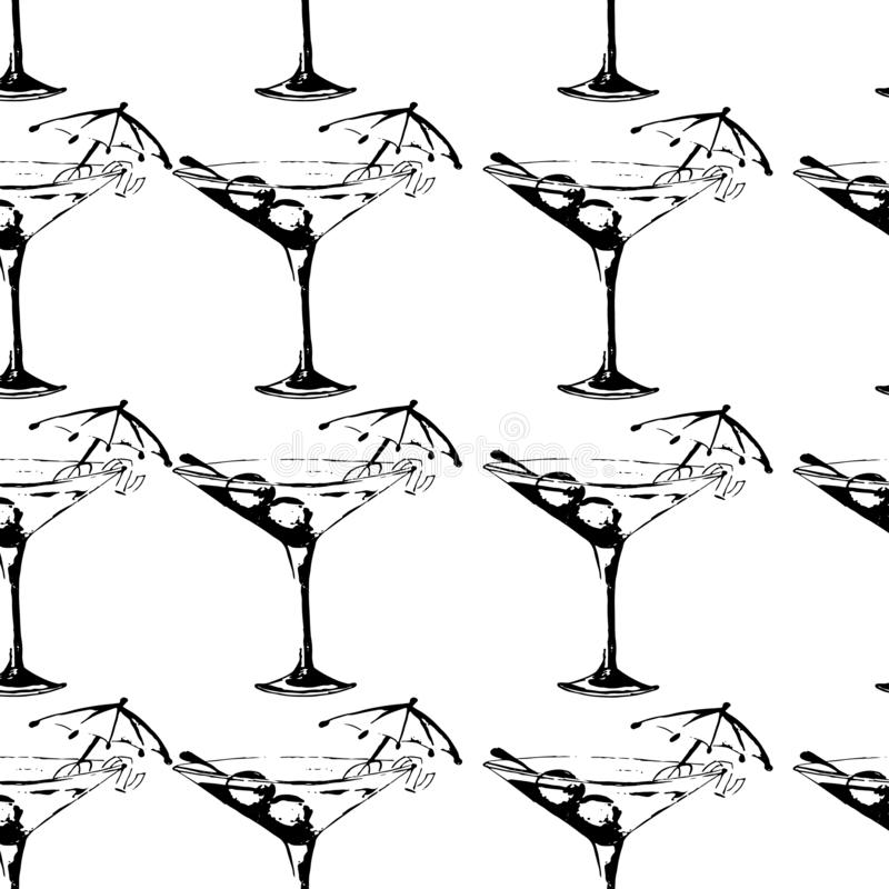 Silhouettes des verres de Martini avec des olives illustration stock